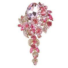 nice EVER FAITH Gold-Tone Austrian Crystal Vintage Inspired Floral Leaf Brooch Pendant Pink