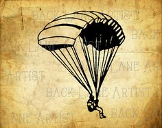 Vintage Parachute Clipart Lineart Illustration by BackLaneArtist