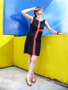 Geometric Mondrian Dress Little Black Dress Plus Size by tamarziv