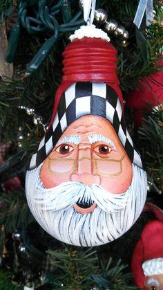 Santa Loves Checks Lightbulb Ornament by CyndiMacsNickKnacks