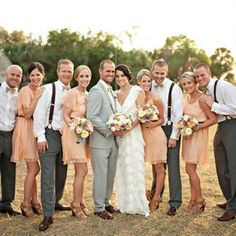 The bridesmaids accessorized their airy, peach knee-length dresses with brown belts and wedges. Beside them, the men looked equally fun and relaxed in suspenders and bow ties.