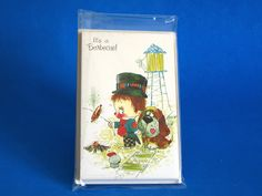 It's A Barbecue! Invites Vintage Retro Cards with Envelopes - Kitsch Hobo Boy with Dog & Mouse - Party Invites - New Old Stock by FunkyKoala on Etsy