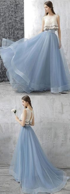 two-piece prom dress, tulle prom dress, long prom