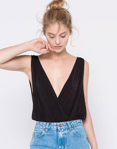 Pull&Bear - woman - tops & bodies - black draping bodysuit - black - 05244371-I2016