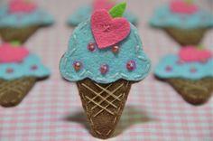 Set of 6pcs handmade felt ice cream--blue (FT921) via Etsy
