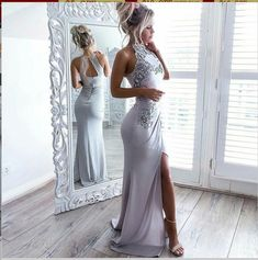 Buy Mermaid High Neck Open Back Elastic Satin Long Grey Prom Dress with Appliques in uk.Shop our beautiful collection of unique and convertible long Prom dresses from FabFba,offers long bridesmaid dresses for women online. Grey Prom Dress, Open Back Prom Dresses, Mermaid Prom Dresses, Long Bridesmaid Dresses, Cheap Prom Dresses, Prom Party Dresses, Party Gowns, Sexy Dresses, Beautiful Dresses
