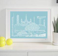 glasgow skyline typography print by spdesign   notonthehighstreet.com