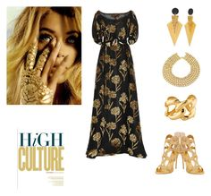 """""""golden flower"""" by morticiame ❤ liked on Polyvore featuring Zimmermann, Giuseppe Zanotti, Kenneth Jay Lane, Chanel and Toolally"""