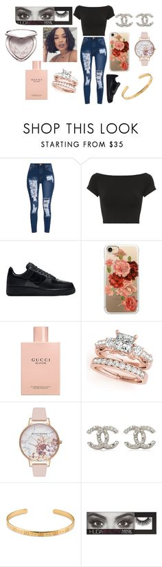 """""""ripped jeans"""" by stylists-clxv on Polyvore featuring Helmut Lang, NIKE, Casetify, Gucci, Olivia Burton, Chanel, Huda Beauty and Too Faced Cosmetics"""
