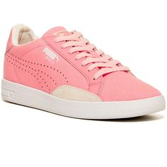PUMA Match Canvas Sport Sneaker ($37) ❤ liked on Polyvore featuring shoes, sneakers, pink, sports trainer, round cap, puma shoes, lace up sneakers and sports shoes