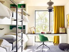 Inspiration pic for the bunk room. I imagine our room looking very similar to this room with flat panel tv on wall opposite of beds. Also like how the desk is built into the bunk beds. Would like extra storage under counter so opening for chair could be smaller. Window would probably be smaller too since view out our window would basically be the family room roof.