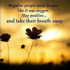 Negative people need drama like it was oxygen. Stay positive... And take their breath away. *Coourtesy of womenworking.com from Zig Ziglar via Facebook