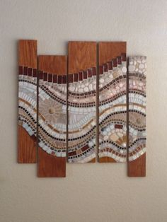 Mosaic wall hanging done on wood with flowing waves of earth colors Wood Mosaic, Mosaic Diy, Mosaic Garden, Mosaic Crafts, Mosaic Projects, Mosaic Glass, Glass Art, Stained Glass, Mosaic Artwork