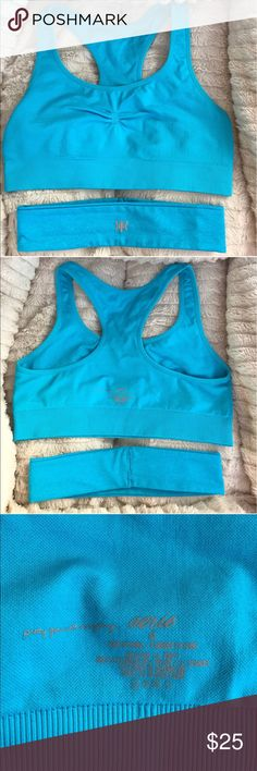 ✨LIKE NEW✨ Aerie royal turquoise blue sports bra ✨LIKE NEW✨ Aerie Gorgeous and comfortable sports bra worn once for yoga and then found another style that I like better for my workouts. It comes with matching blue sweat headband that is in excellent condition. I also have this in hot pink so please see my other listing. You can bundle this with the hot pink one or anything else from my closet and save and additional 20% this weekend only! American Eagle Outfitters Intimates & Sleepwear Bras