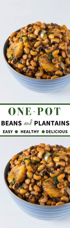 One Pot Beans and Plantains are an easy, healthy, and delicious West African recipe. Filling protein from the black-eyed beans, flavour from the palm oil and fish and a little hint of sweetness via the plantains. Veggie Recipes, Vegetarian Recipes, Cooking Recipes, Healthy Recipes, Slow Cooking, Healthy Breakfasts, Detox Recipes, Healthy Soup, Vegan Vegetarian