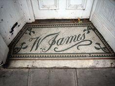 W. James Floor Signage, Penny Tile Floors, Vintage Luggage Tags, Entryway Flooring, Vintage Tile, Interior Concept, Typography Design, Lettering, Tile Patterns