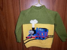 This is a 20 inch chest sweater with Thomas by Marionsknittedtoys, $25.00