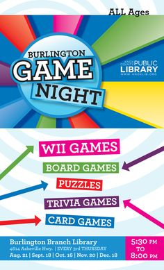 Burlington Branch Library Game Night Poster | Kayti Tilson for Knox County Public Library