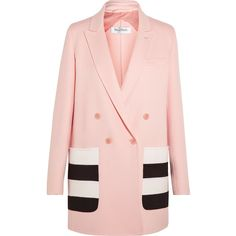 Max Mara Striped wool and angora-blend felt blazer ($925) ❤ liked on Polyvore featuring outerwear, jackets, blazers, coats, blazer, coats & jackets, pink, pink wool jacket, pastel pink blazer and wool jacket