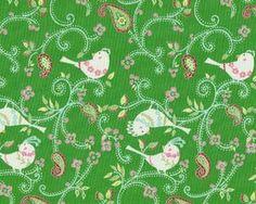 """Patchworkstoff """"Love & Joy"""" mit Vögeln auf Paisley-Ranken, grasgrün-weiß"""