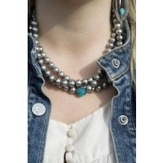 Triple Bead Necklace w/ Turquoise Cross-Antique Silver