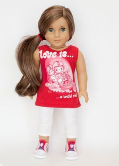 American Girl Doll Valentine's Day outfit - tunic, leggings, and shoes by EverydayDollwear on Etsy https://www.etsy.com/listing/218753611/american-girl-doll-valentines-day-outfit