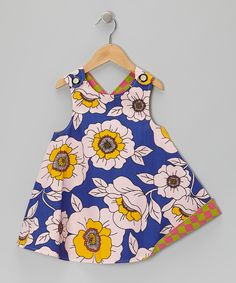 Blue Floral Harlequin Reversible Jumper - Infant, Toddler & Girls by Right Bank Babies #zulily #zulilyfinds