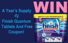 Win A Year's Supply Of Finish Quantum Dishwasher Tablets And Free Coupon