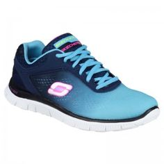 Womens Navy Blue SK11880 Flex Appeal - Style Icon Lace Up Trainer Lace Up  Trainers bba752869a1