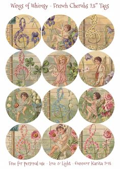 "Wings of Whimsy: French Musical Cherubs 2,5"" Tags #vintage #ephemera #freebie #printable #cherub #valentine #tag"