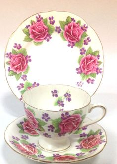 Other Porcelain & China Tableware Antique Tea Cups, Vintage Cups, Vintage China, Antique Dishes, Vintage Dishes, Roses And Violets, Pink Roses, China Tea Sets, My Cup Of Tea