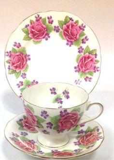 Gladstone English Vintage China Tea Set - Tea Cup Trio - Pink Roses & Violets