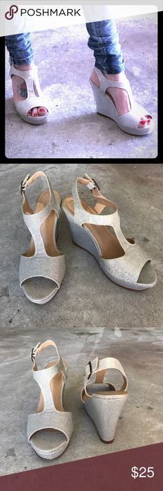 Glittery Silver Wedges 🌸 Pre loved glittery silver wedges size 6.5 by rampage worn a total of three times probably. I can't really walk in them haha I need my stilettos 😂 Rampage Shoes Wedges