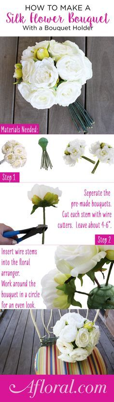 How to Make a Silk flower Bouquet with a Bouquet Holder. Make your own silk flower bridal bouquet with smaller pre-made bouquets and a bouquet holder. Combine your favorite flowers in an easy DIY bouquet for a look you love that will last long after your wedding day.