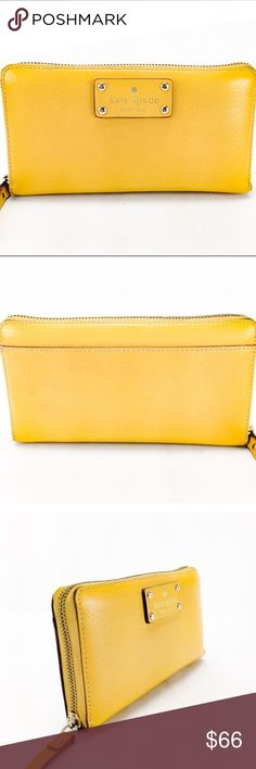 Kate Spade Mustard Leather Neda Wellesley Wallet Kate Spade Mustard Yellow Leather Neda Wellesley Zip Around Long Continental Wallet in good condition! 100% pre-owned authentic.   Exterior features: - mustard yellow textured leather with tonla stitching - zip around closure - silver-tone hardware - gold-embossed logo on tonal leather patch - flat pocket on back  Interior features: - 12 card slots - 2 bill slots - 2 divided compartments - 1 zippered pocket 1 zippered pocket with leather…