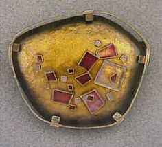 """Lilyan Bachrach emanelist. Pin 21/2"""" x 2""""cloisonné 28 gauge copper domed and planished, 24k cloisonné wire fabricated gold plated sterling frame."""