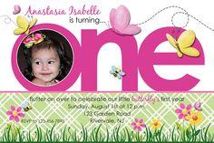 ONE butterfly spring birthday invitation  by inspiredbyangel, $16.00