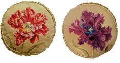 Pair of Round Wool Needlepoint Purple & Red Orchid Pillow w Checker Cording Victorian Cross Stitch, Red Orchids, Needlepoint Pillows, Flowering Trees, Hand Stitching, Wool, Purple, Ebay, Decor