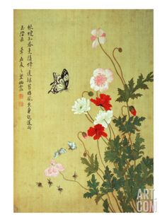 Poppies, Butterflies and Bees Giclee Print by Ma Yuanyu at Art.com