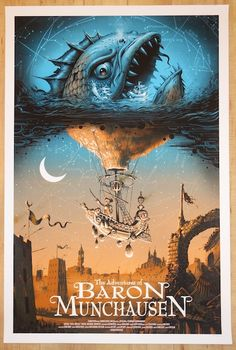 """The Adventures of Baron Munchausen - silkscreen movie poster (click image for more detail) Artist: Jeff Soto Venue: N/A Location: N/A Date: 2014 Edition: 275; numbered only Size: 24"""" x 36"""" Condition:"""