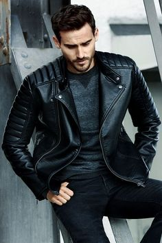 Heavy black leather jacket for the utter man