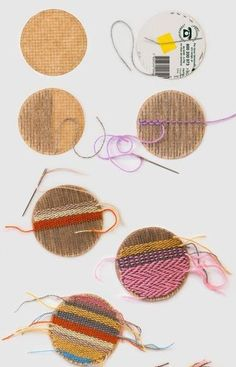 keren_barbe_woven_patches How to: woven circle patches: Craft: Transforming Traditional Crafts Textiles, Clothing Patches, Weaving Projects, Weaving Designs, Loom Weaving, Sewing Hacks, Textile Art, Fabric Crafts, Sewing Crafts