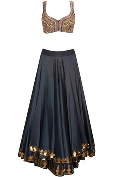 Midnight blue beads embroidered lehenga set by Jade by Monica and Karishma. Shop at: http://www.perniaspopupshop.com/designers/jade-by-monica-and-karishma #shopnow #perniaspopupshop #jade