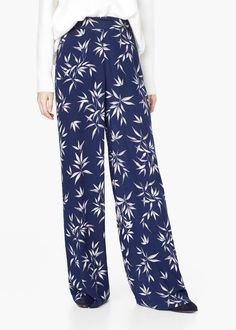 Pantaloni palazzo înflorați - Pantaloni pentru Femei   MANGO