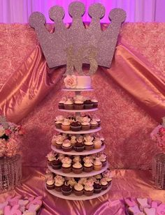Cupcake tower at a pink princess birthday party! See more party ideas at CatchMyParty.com!
