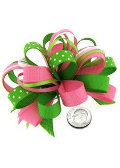 Little girl bows of pink and green