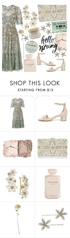 """""""hello spring"""" by tropicalcraze ❤ liked on Polyvore featuring Needle & Thread, Kevyn Aucoin, Monsoon, Kate Spade, Elie Saab and Jennifer Behr"""