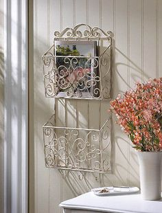 ❤°(¯`★´¯)Shabby Chic(¯`★´¯)°❤... Shabby-White-Chic-Wall-Decor-Wall-Organizer-Towel-Holder-Magazine-Rack