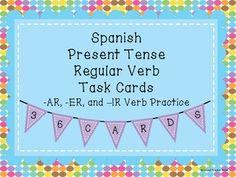 Spanish Present Tense Regular Verb Task Cards. Practices -AR, -ER and -IR verbs… Grammar Help, Spanish Grammar, Teaching Grammar, Spanish 1, Spanish Teacher, Spanish Classroom, Teaching Spanish, Spanish Language, Classroom Ideas