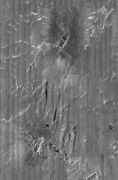 || RMS Titanic Inc. has completed an expedition to sonar map the Titanic's 3-by-5 mile debris field, using unmanned, underwater robots which have taken more than 100,000 photos of the site. This is a composite of the entire field.